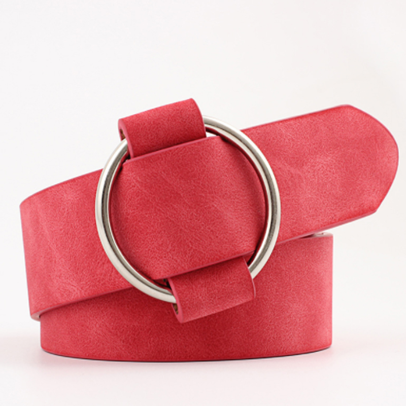 Female Casual Round Buckle Wide Belts For Women Dress Jeans Belt Woman Ladies Faux Leather Straps Ceinture Black Pink Red