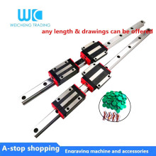 2pc HGR15 HGH15 Square Linear Guide Rail width 15mm length+4pc Slide Block Carriages HGH15CA/flang HGW15CC CNC Router Engraving
