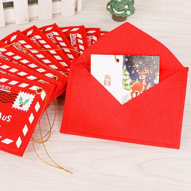 1 PC Tkaniny Boże Narodzenie Santa Claus Koperta Mała Czerwona Druku Torba Biurowe Szkoła Biurko Home Decoration Supplies Kreatywny Nowy Rok prezent