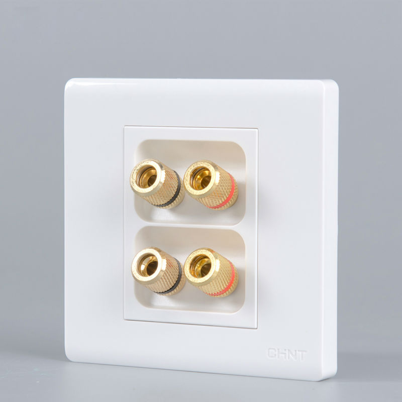 Wholesale Original Cheap Price Pure White Speaker Connector Plate With Left Right Audio Plugs 86x86mm For