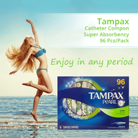 96 Pcs Tampax Unscented Super Absorbency Catheter Tampons Menstrual Cup Sanitary Pad Absorvente Menstrual Smooth Antibacterial