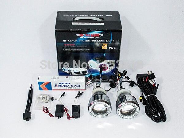 2017 nouveau 2.5HQC 2.5 ''pouces Auto HID lentille projecteur H7 H4 H1 9005 9006 8000 K 6000 K CCFL voiture bi-kit Double Angel Eyes
