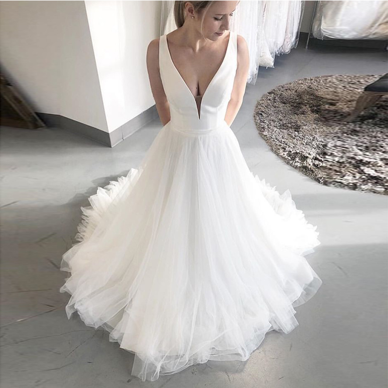 Simple Beach Wedding Dresses.Us 111 75 25 Off Simple Beach Wedding Dresses Deep V Neck Sleeveless Bridal Dresses Satin Top Tulle Skirt Custom Made White Ivory Wedding Gowns In