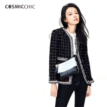 Cosmicchic Haute Couture Runway Luxury Jacket Slim Black Wool Tweed Femme Coat O-Neck Suit With Pocket Terciopelo Feminino LY115