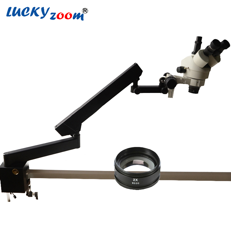 Lucky Zoom Brand 7X-90X STEREO ZOOM MICROSCOPE +ARTICULATING STAND MICROSCOPE SZM2.0X LENS Microscope Accessories