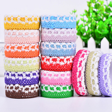 2Pcs Creative Sweet Solid Lace Color Fabric Profile Paper Tape Knitted Cloth Diy Decoration Office School Supplies