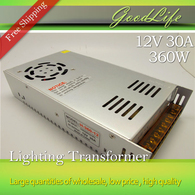 ФОТО 12V 30A 360W 110V-220V Lighting Transformer,High quality LED driver for LED strip power supply,power adapter,Free shipping