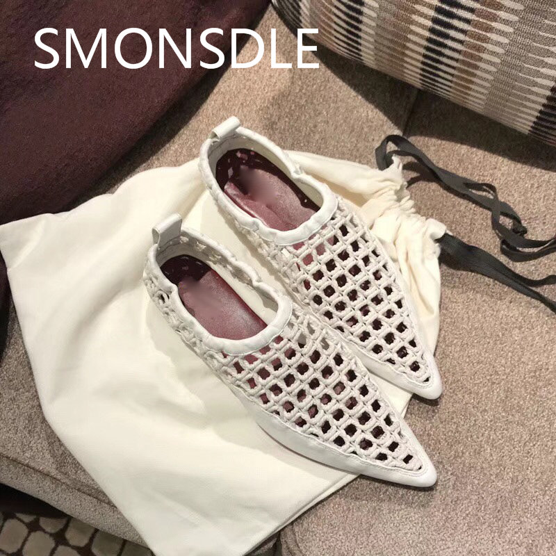 2018 Summer New Black Genuine Leather Weave Hollow Out Women Flat Shoes Pointed Toe Slip On Shallow Loafers Boat Shoes Woman xiaying smile flats shoes women boat shoes spring summer office casual loafers slip on pointed toe shallow rubber women shoes