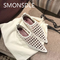 2018 Summer New Black Genuine Leather Weave Hollow Out Women Flat Shoes Pointed Toe Slip On Shallow Loafers Boat Shoes Woman