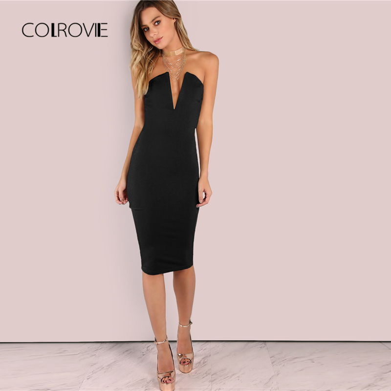 a3d4196123 COLROVIE Black Sexy Backless Deep V Neck Strapless Bandeau Party Dress  Elegant Summer Dress 2018 Solid Women Bodycon Dress