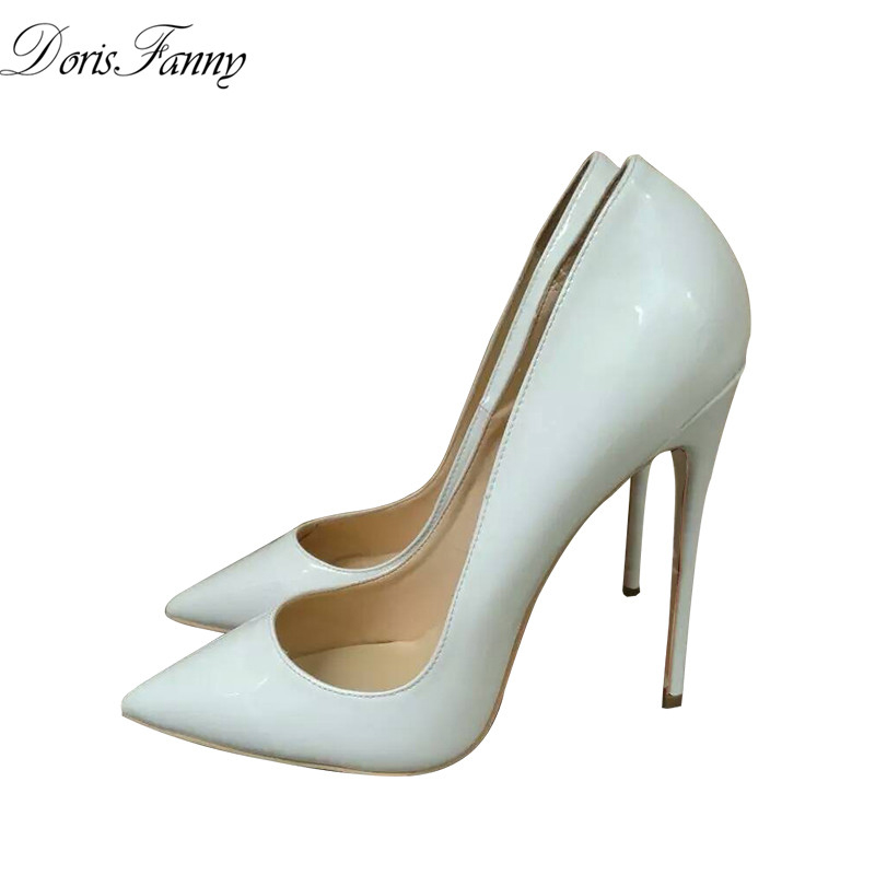 DorisFanny pointed toe luxury shoes women designers white wedding shoes bride So sexy high heels nightclub ultra thin heels high heels european grand prix 2015 new winter bride wedding high heels nightclub wild pointed high heeled shoes women pumps page 6