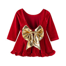 Long Sleeve Girls Dress 1 2 3 4 5 Year Baby Red Christmas Costume Backless Bow Children Princess Birthday Clothing Kids Dress цена в Москве и Питере