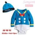 2016 Unisex Donald Duck bebé ropa ajustado de una pieza de manga larga de algodón Hat + Body 4-24 meses recién nacido del bebé de los mamelucos