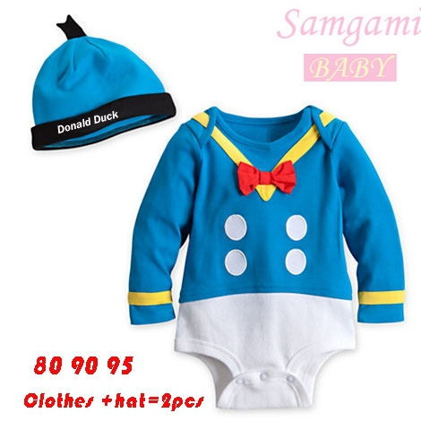 2016 ユニ セックス ドナルドダック の赤ちゃん服セット ワンピース ロング スリーブ コットン帽子+ ボディ