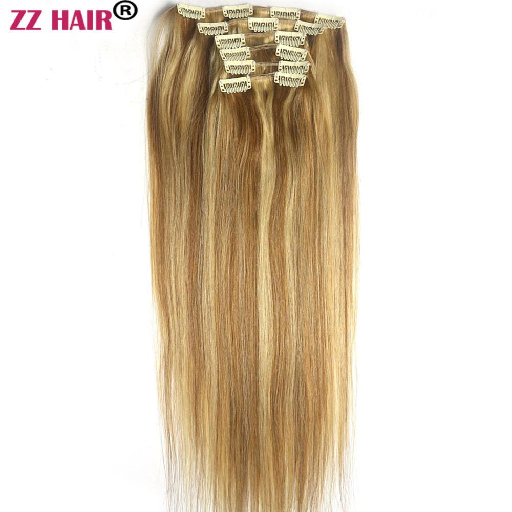 ZZHAIR 100g 140g 16 24 Machine Made Remy Hair 6 piece Set Clips in Human Hair