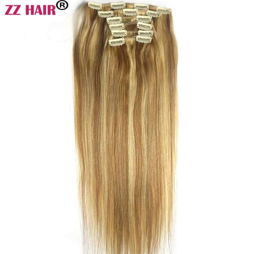 "ZZHAIR 100g-140g 16""-24"" Machine Made Remy Hair 6 piece Set Clips-in Human Hair Extensions Full Head Set Natural Straight Hair"
