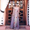 MX057 Nuevo Diseño Estilo de La Princesa de las mujeres maxi largo ver a través de tul de alta calidad floral bordado del vestido del verano 2016