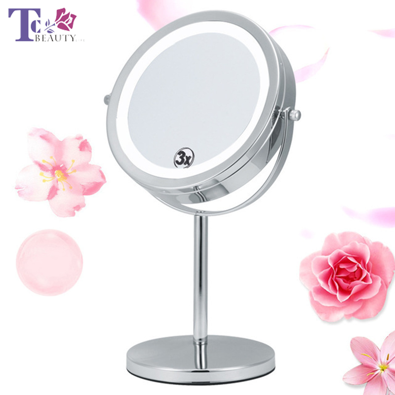 Led Lighted Makeup Mirror Triple Magnifying Compact Double Sided Silvery Metal Free Rotation Woman Mirror Desktop Makeup Vanity nyx professional makeup двустороннее зеркало dual sided compact mirror 03