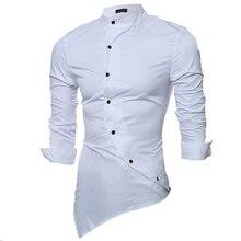 Marke 2016 Mode Männlichen Shirt mit Langen Ärmeln Tops Satin Stoff Hochwertige Mandarin-Kragen Herren Hemden Slim Männer Shirt 2XL