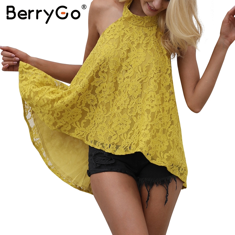 BerryGo Causal strapless camisole tank top Halter backless lace top female floral cami 2017 autumn elegant blouse top women