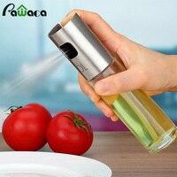 2Pcs Set Stainless Steel Olive Oil Vinegar Sprayers Pump Glass Bottle Set Oil Pot Can For