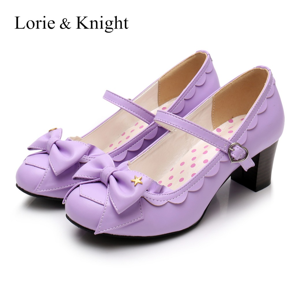 Women s Mary Jane Pumps Sweet Bow High Heel Lolita Dress Shoes