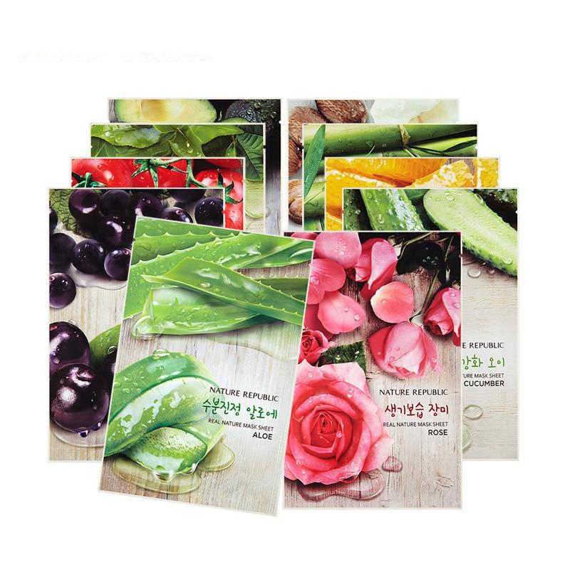 Korea Cosmetic Nature Republic Real Nature Mask Sheets 10pcs/lot Face Mask Moisturizing Oil Control Shrink Pores Skin Care