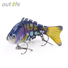 Outlife 7-segement Swimbait Crankbait Multi-jointed Fishing Lure with Treble Hook Artificial Bait Tackle 10cm 20g