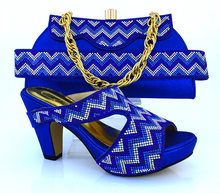 MM1010 Royal Blue Free Shipping African Women Shoes And Bags Set!High Quality Italian Shoes And Matching Bags For Wedding!