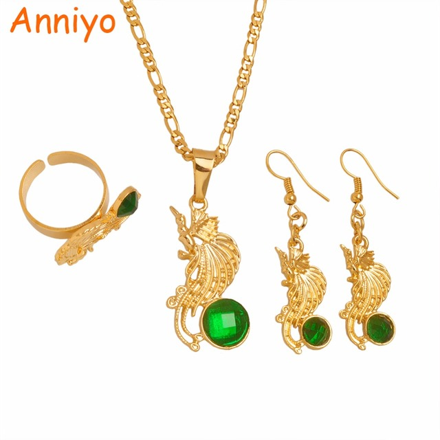 Anniyo Bird Of Paradise Pendant Necklace Earrings Rings Sets For Women Papua New Guinea Jewellery