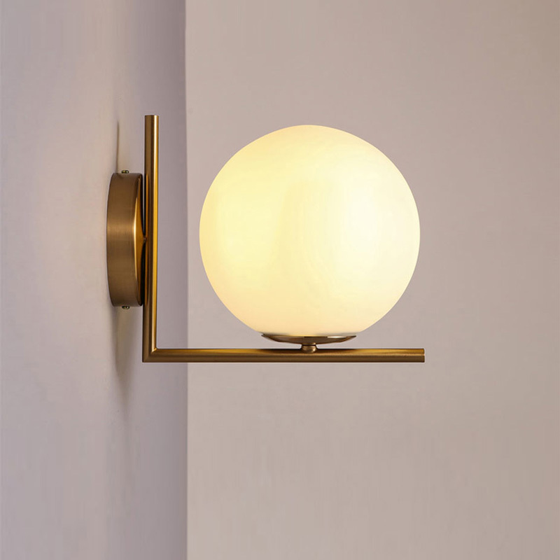 Modern Glass Ball Wall Lamp Fixtures For Bedroom Hallway Gate Indoor Home Read Bedside Lights Restaurant Stairs Decor Wandlamp-in LED Indoor Wall Lamps from Lights & Lighting    1
