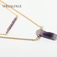 Women Vintage 2 Layer Gold Chain Natural Stone Pendant Necklace With White Purple Green Crystal Bead Collar Necklace Jewelry