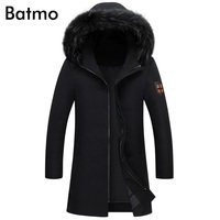Batmo 2017 mới mùa đông giữ ấm Trắng vịt xuống màu đen đội mũ trùm đầu dài áo khoác nam, áo nam mùa đông M, L, XL, 2XL, 3XL, 7813