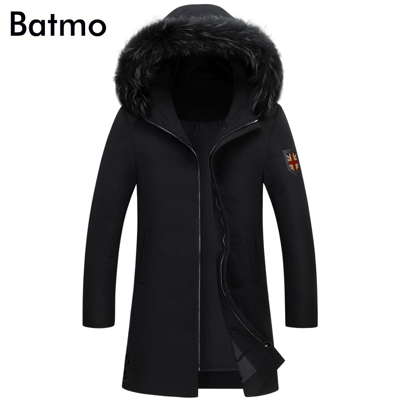 Batmo 2017 new winter keep warm White duck down black hooded long jacket men, winter mens coat M,L,XL,2XL,3XL, 7813
