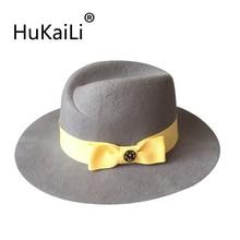 Outono e inverno Alienígena grande-chapéus de aba dupla logo metal preto  Yellow ribbon bow 03b2aba077e