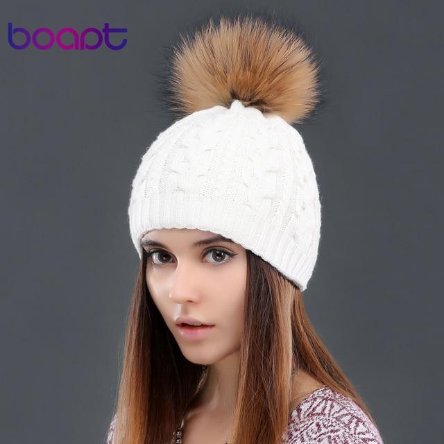 BOAPT кашемир двухэтажные knited шапки твист мягкий толстый шляпы для женщин зима естественно мех енота пом пом beanie девушки шляпа