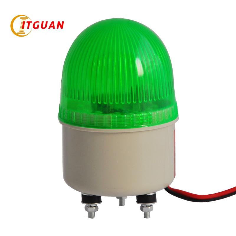LTE-5071 Green LED Mini 1W Warning Light With Bolt Bottom Alarm Light Emergency Beacon Lamp Flashing Light 12V 24V Red Green 1w 78lm 7000k cool white light usb powered mini light emergency lamp blue