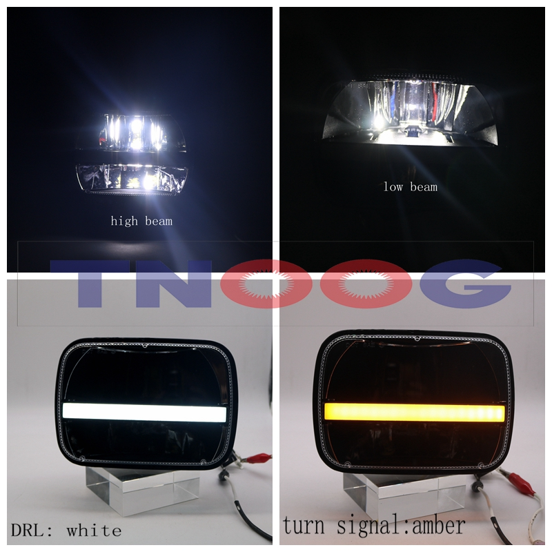 TNOOG 1 Pair 72W 5*7 Inch High/Low Beam DRL 6x7 Led Square Headlights With Angel Eyes Amber turn signal For Jeep Wrangler YJ