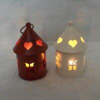 Marokkanischen Stil Metall Haus Modell Kerzenständer Kerzenhalter Kerzenständer Licht Halter Laterne Eisen Handwerk Hochzeit Dekoration Geschenk
