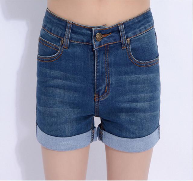 2015 estilo verão respirável shorts jeans magros das mulheres tamanho extra grande (26-40) elástica roll-up shorts mulheres jeans casual