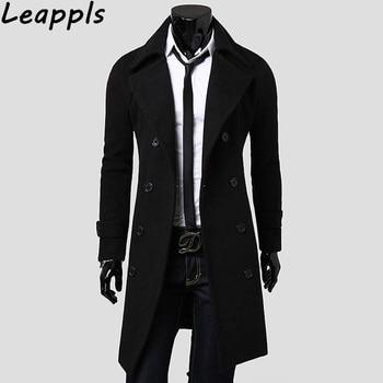 e8649aae111 3XL для мужчин s Тренч 2019 Новая мода дизайнер мужское длинное пальто  осень зима двубортный Ветрозащитный тонкий Тренч