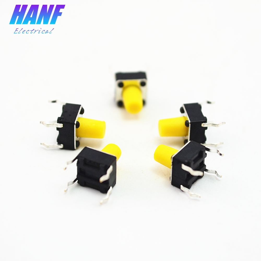 100pcs/lot SMD 6*6*8mm Tactile Switches Yellow Square Push Button Tact Switch 6x6x8mm Wholesale 0.1A/12V High Quality