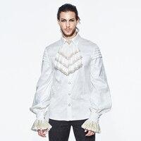 Devil Fashion Men's Gothic Lapel Shirt Punk White Loose Banquet Shirt With Lace Cuff Silk Shirt Victorian Top