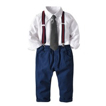 Kids Boys Formal Suit Baby Long-sleeved Turn-over Shirt Vest Long Trousers Bow tie Gentle 1-7Y Children Birthday Clothes