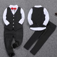 New Fashion Black Boys Suits Regular Boy Suits Formal Blazers 2Piece Suits Pant+ Vest Costume For Boy Weddings KS 1612