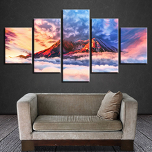 Wall Art Decoration HD Modern Prints 5 Pieces Mountain And White Cloud Abstract Scenery Pictures Modular Canvas Paintings Poster