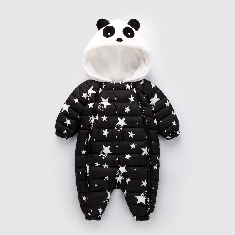 Winter Baby Romper 0-1-2 Years Old Infant Cartoon Cute Panda Hooded Cotton Lamb Cashmere Jumpsuit Baby Boys Girls Warm Rompers цена в Москве и Питере