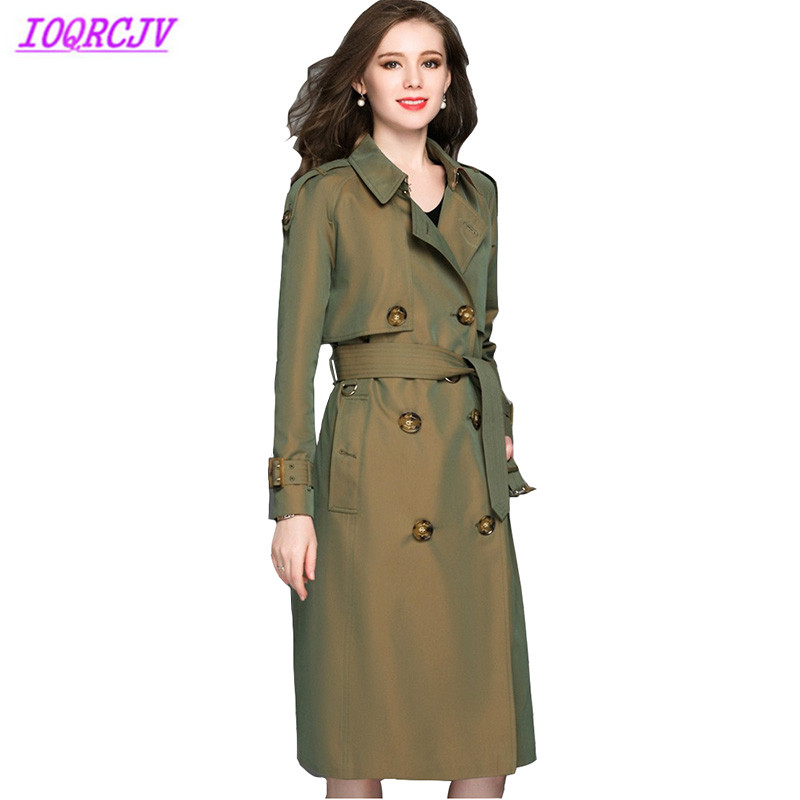 High quality trench coat Women 2018 autumn gradually Discolor long Windbreaker pure cotton waterproof coat Plus size IOQRCJVH331