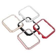 С сияющими блестками алмаз бампер Защитный чехол для Apple Watch Series 3 2 1 38 мм 42 мм чехол для iwatch алюминий металлическая крышка