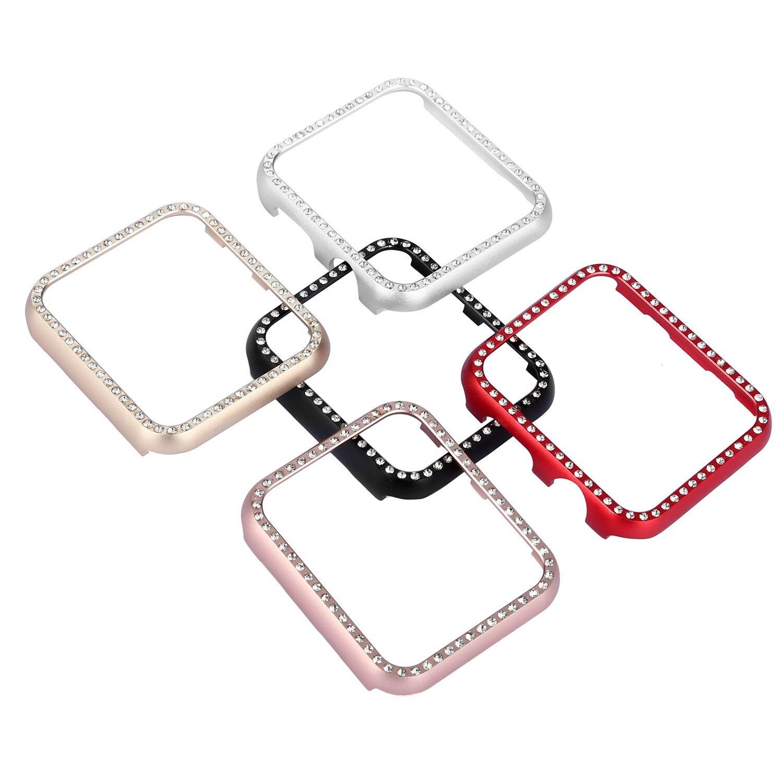 Bling Glitter diamante funda protectora para Apple Watch serie cubierta 3 2 1 38mm 42mm para iwatch cubierta de aluminio del metal